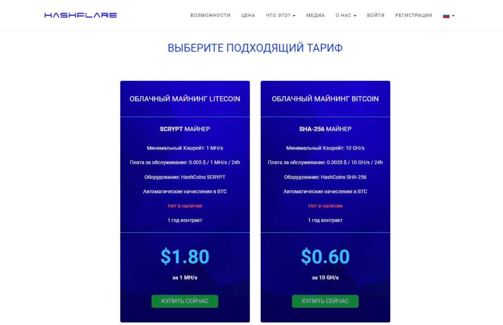 Тарифы на сервисе HashFlare