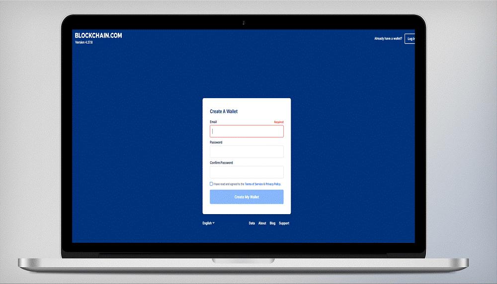 Регистрация на официальном сайте Блокчейн, шаг 3