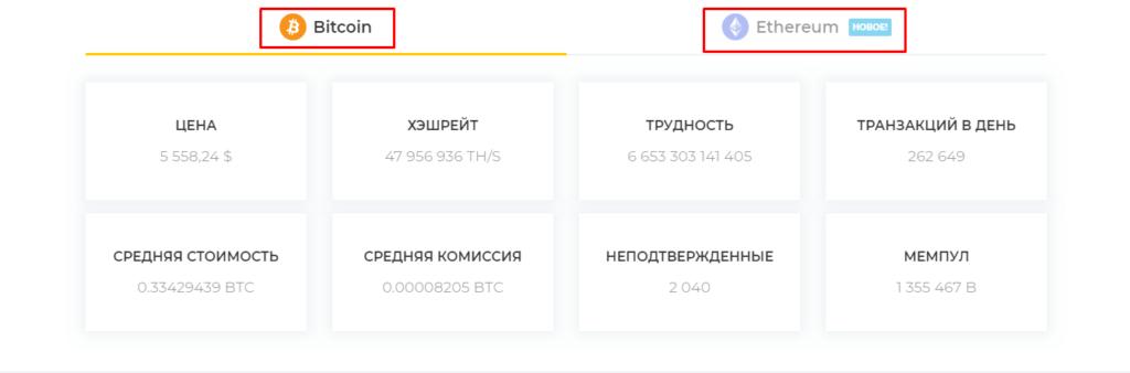 Сведения по двум криптовалютам