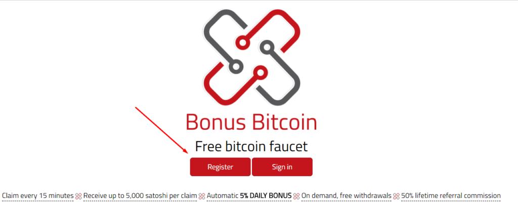 Регистрация на сайте Bonus Bitcoin