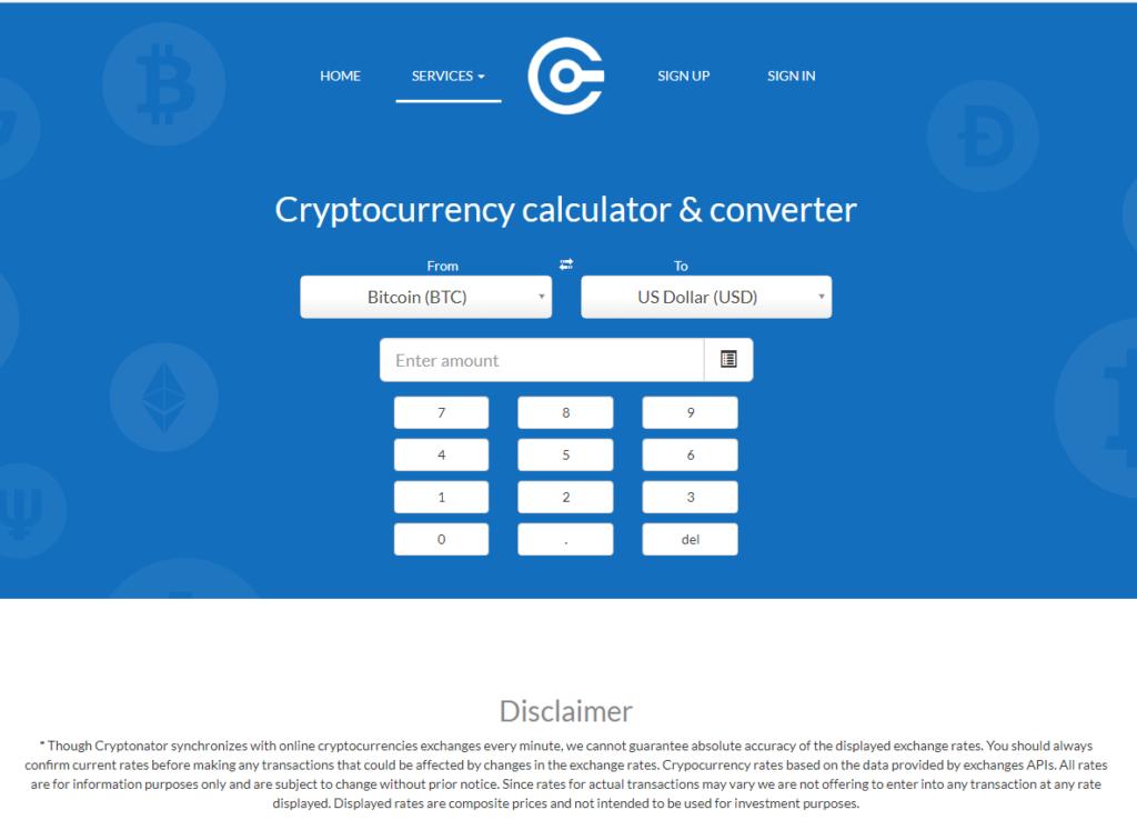 Конвертер сервиса Cryptonator.com