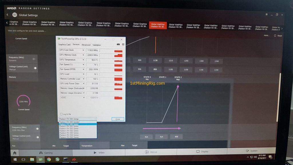 Настройки майнинга на Ethash для MSI Radeon RX 580 ARMOR
