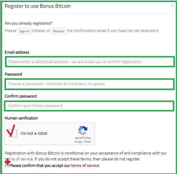 Форма для регистрации на Bonus Bitcoin