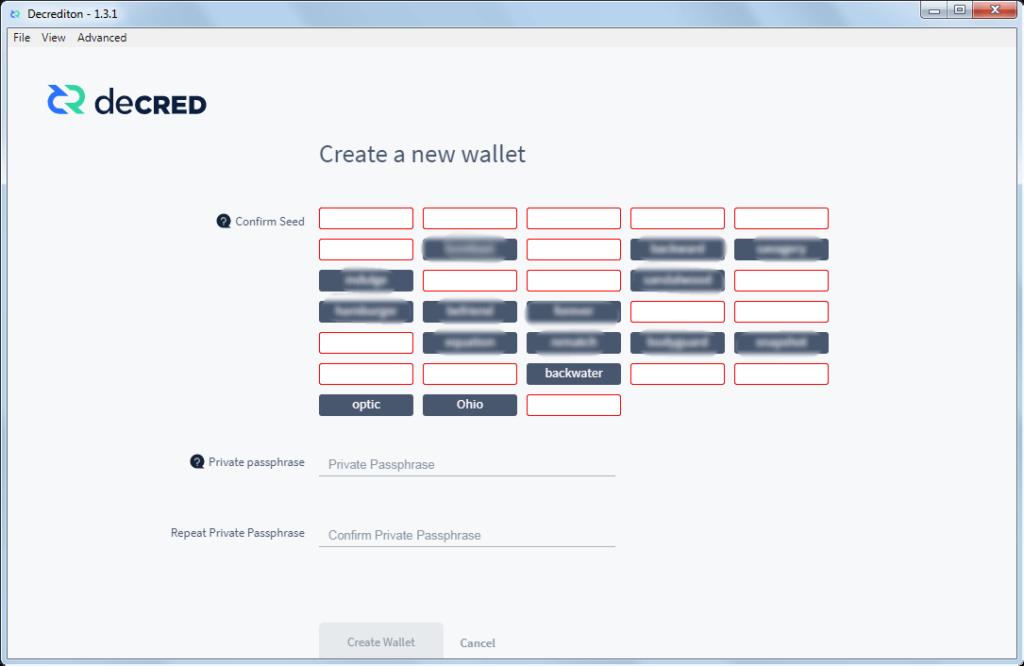 Как создать официальный кошелек для монет DCR: шаг 10