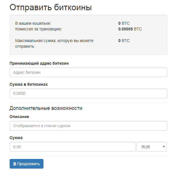 Меню Кошелек