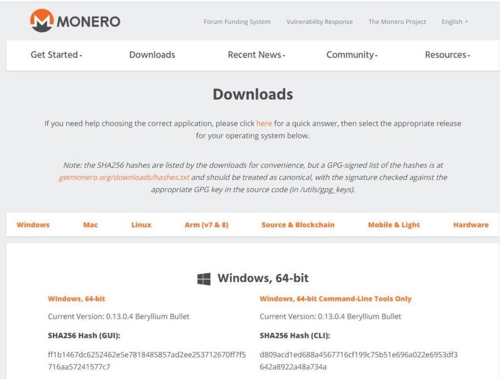 Кошелек Monero с официального сайта