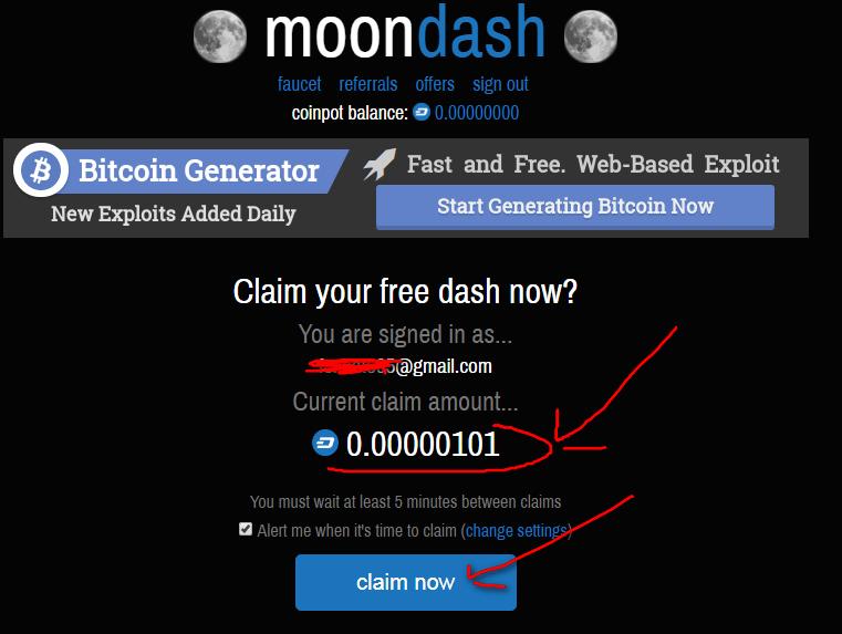 Регистрация на Moon Dash