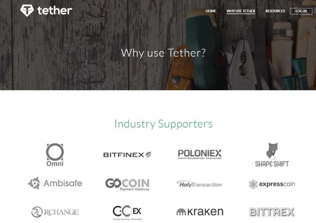 Сайт проекта Tether