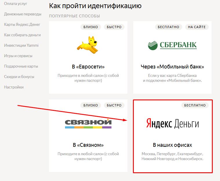 Подтверждение в офисах Яндекс
