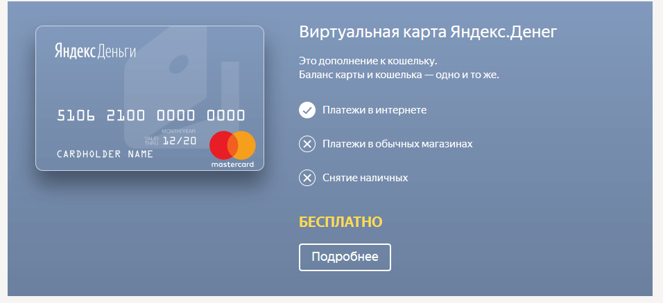 Возможности карты Яндекс.Деньги
