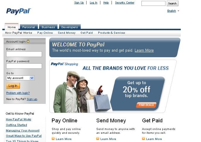 Регистрация PayPal-кошелька, шаг 1