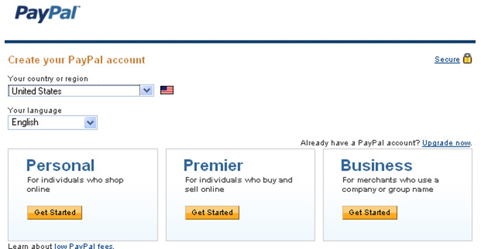 Регистрация PayPal-кошелька, шаг 2