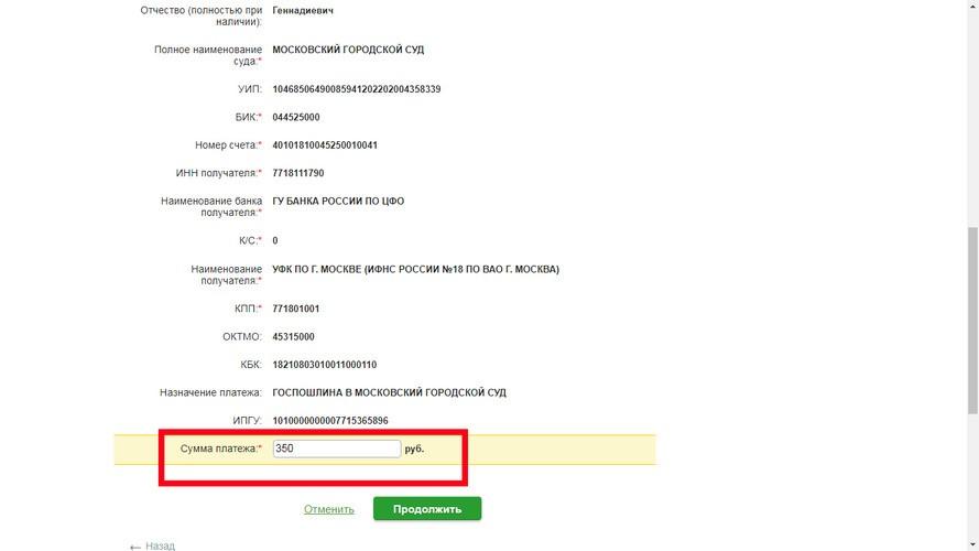 Пошаговая инструкция по платежам Онлайн в суды с помощью Сбербанка, шаг 7