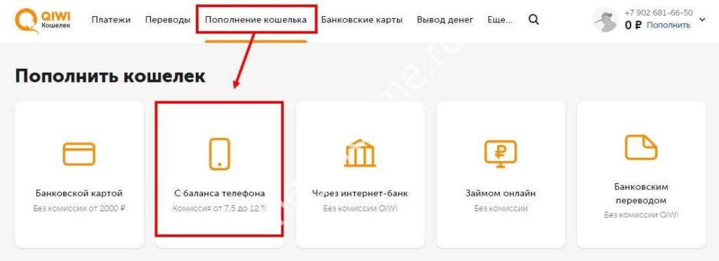 Перевод денег на Кошелек Киви