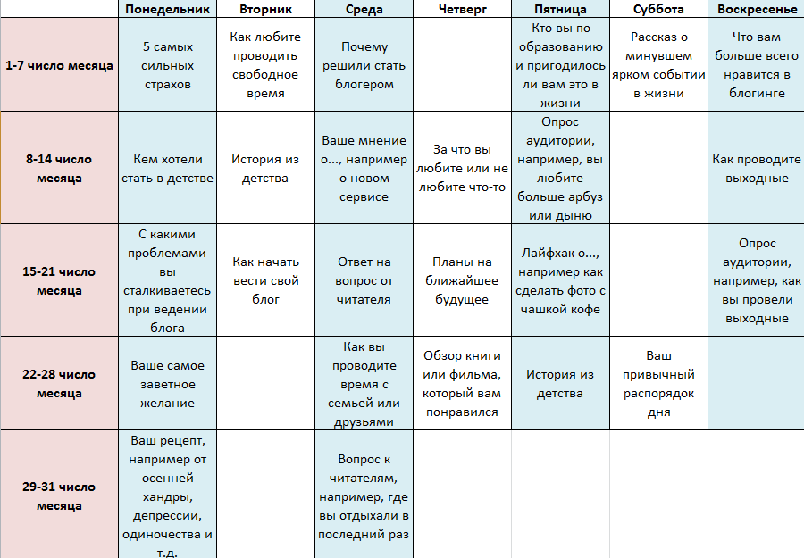 Пример контент-плана